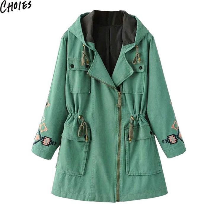 Women Green Geo Embroidery Pattern Zip Up Long Sleeve Hooded Longline Trench Coat Autumn Drawstring Pockets Basic Clothing