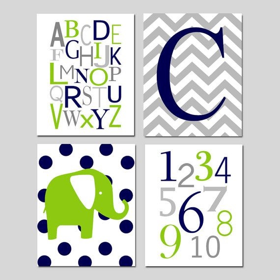Baby Boy Nursery Art Quad - Chevron Initial, Alphabet, Numbers, Polka Dot Elephant - Set of Four 11x14 Prints - Choose Your Colors on Etsy, $75.00