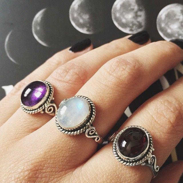 Back in stock! Amethyst, Rainbow Moonstone & Garnet Cordelia Rings ~ Available now at www.emptycasket.co.uk☽♡☾ #emptycasket #sterlingsilver #rings #gemstone #amethyst #rainbowmoonstone #garnet #witchy #jewellery #jewelry #grunge #moonphase