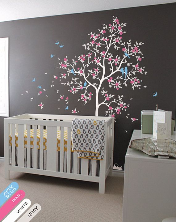 Nursery Wall Tree Decal   Murals With Leaves, Butterflies, Tree, Flowers  And Birds Part 87