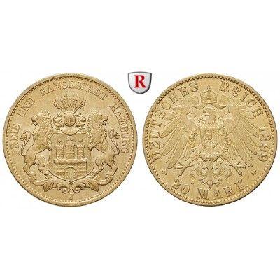 Deutsches Kaiserreich, Hamburg, 20 Mark 1899, J, f.vz, J. 212: 20 Mark 1899 J. J. 212; GOLD, fast vorzüglich 370,00€ #coins