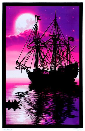 Moonlit pirate ghost ship blacklight poster art print
