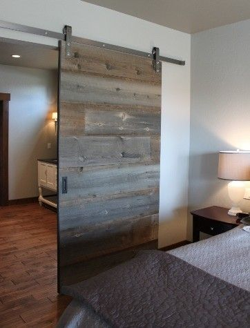 Modern barn door. Master bath