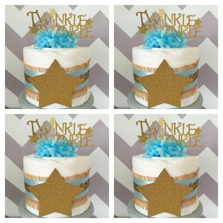 set of 4 twinkle twinkle little star mini diaper cakes in burlap blue and gold twinkle twinkle little star baby shower