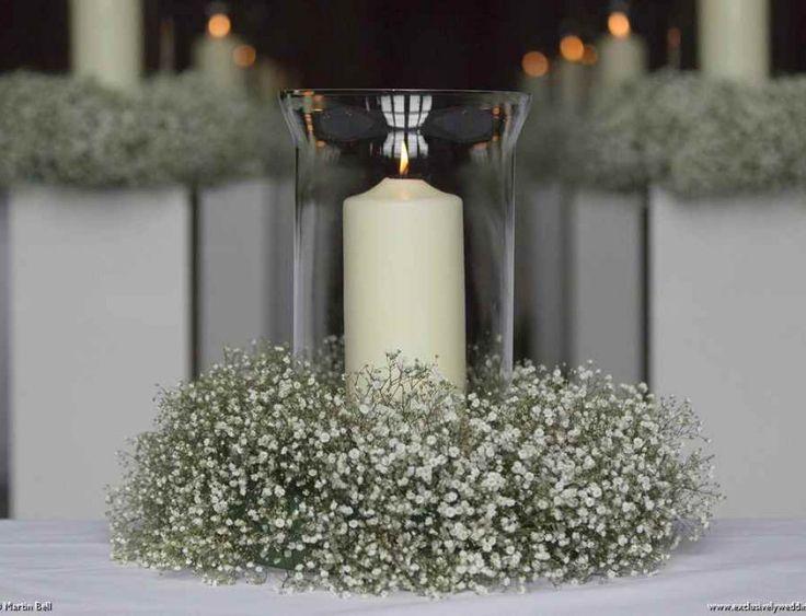 Wedding Lantern with Candle and Gypsophila