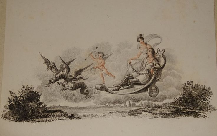 Rare Antique French Engraving 'The Chevalier de Bayard' or 'Dragons and Cupid' c1810.