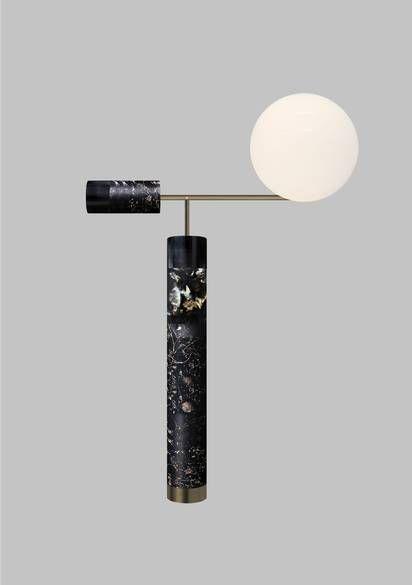 Flora Lamp in black marble and brass / Marcin Rusak