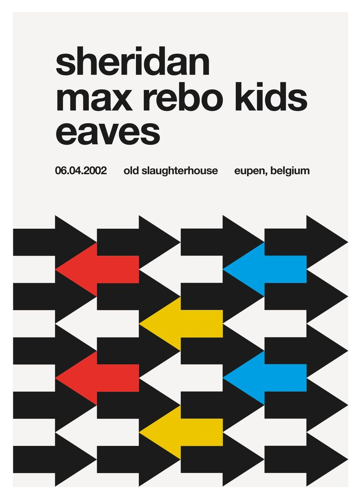 A new poster redesign in swiss / helvetica style every day.Today: local concert in aachen back in 2002.