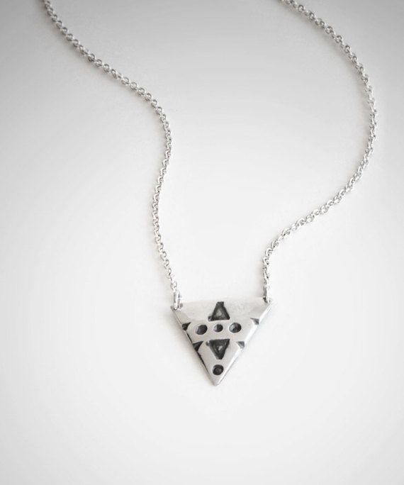 Silver Tribal Triangle Necklace  Funky and tribal silver triangle necklace.  The handstamped triangle central pendant sits right on the chest of