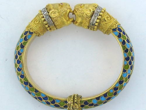 Vintage Zolotas 18k Gold Diamond Enamel Bangle Bracelet
