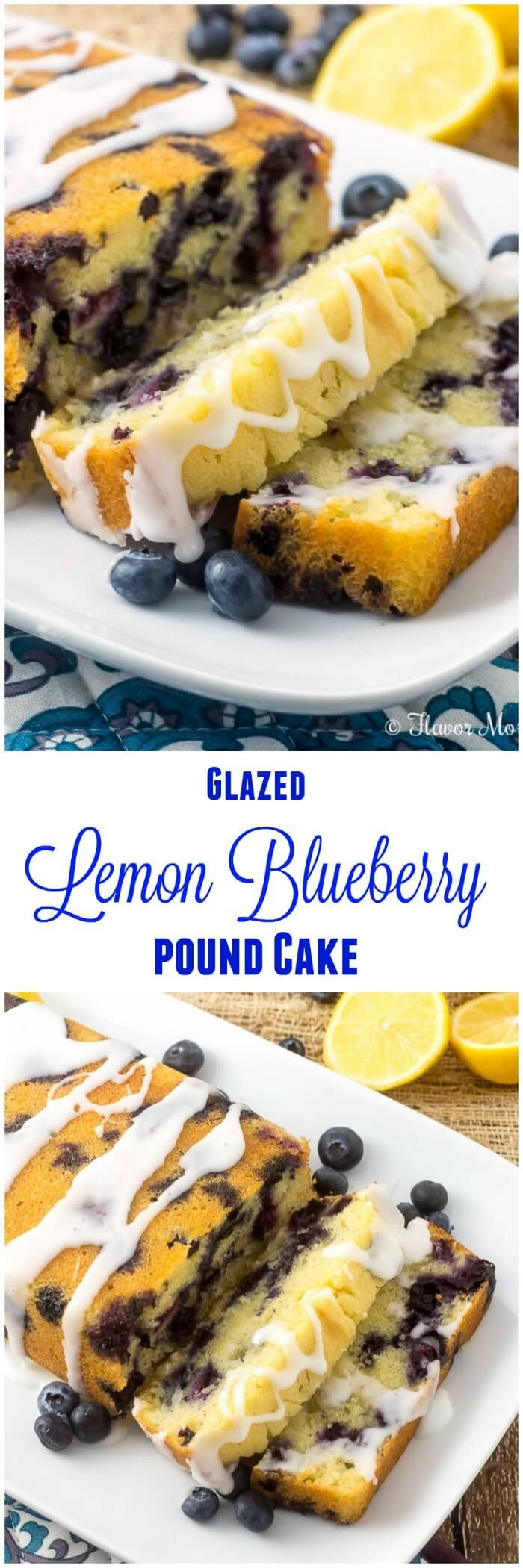 This Glazed Lemon Blueberry Pound Cake is a moist, luscious, buttery, lemon pound cake made with beautiful fresh blueberries throughout and glazed with a sweet, tangy lemon icing. It is similar to the Iced Lemon Pound Cake found at Starbucks but with the addition of fresh blueberries. ~ http://FlavorMosaic.com