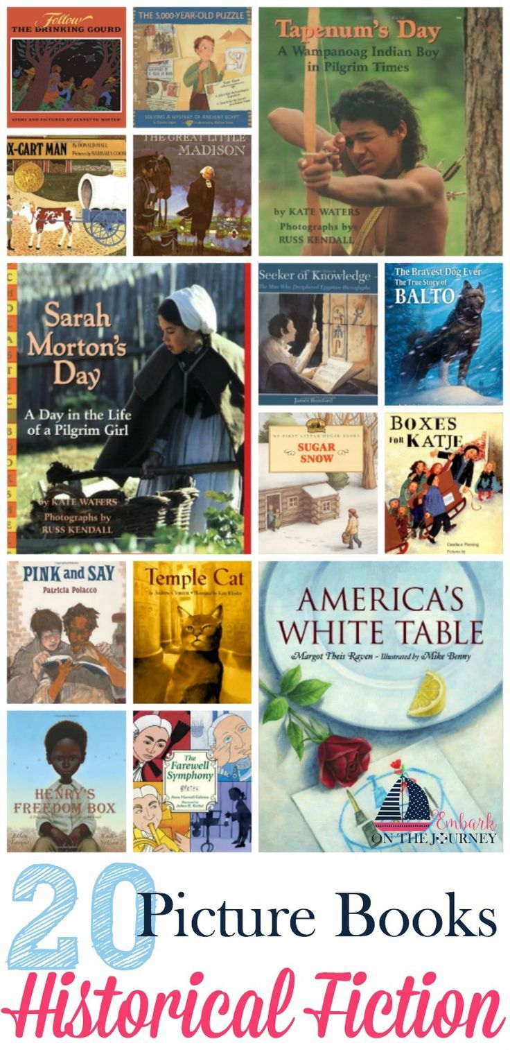 These historical fiction picture books will bring your homeschool history lessons to life! http://embarkonthejourney.com/20-historical-fiction-picture-books-elementary-readers/