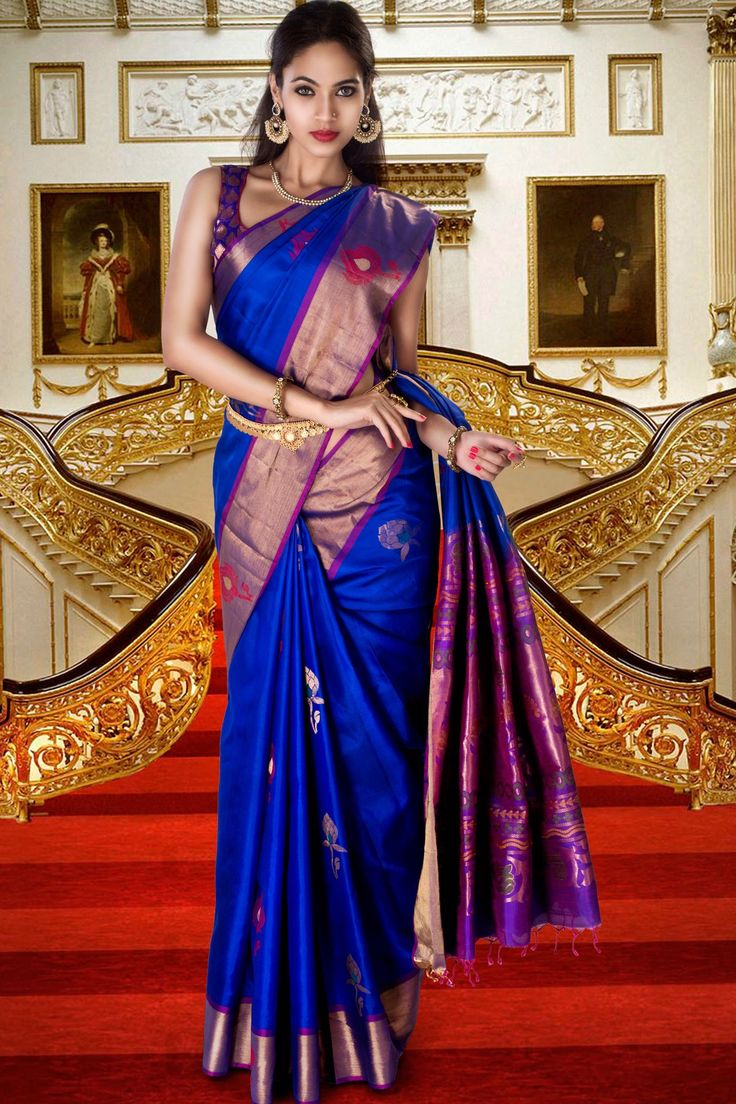 Gorgeous Royal #blue pure silk #zari weaved saree in purple pallu & #golden border along with #royal blue weaved blouse to give you a #chic look