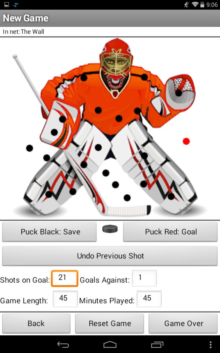 Goalie Shot Tracker is an app for tracking a hockey goalie's performance. It keeps both a visual and numerical history of the shots on goal, saves, goals, save percentage and goals against average.