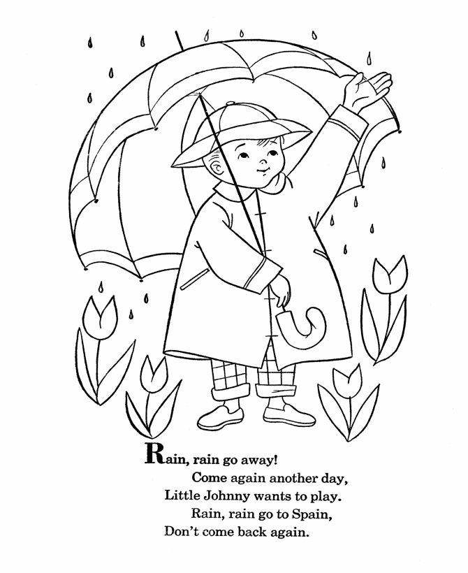 BlueBonkers - Nursery Rhymes Coloring Page Sheets - Rain Rain Go Away - Mother Goose