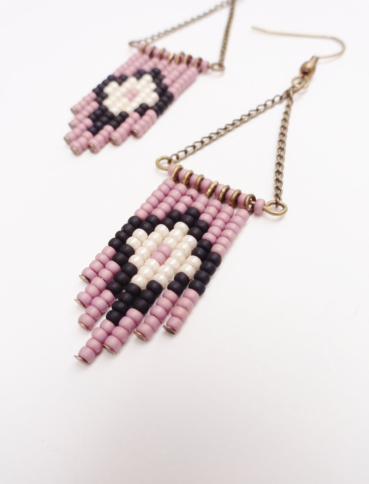 Hand Beaded Earrings in Mauve, Cream and Black