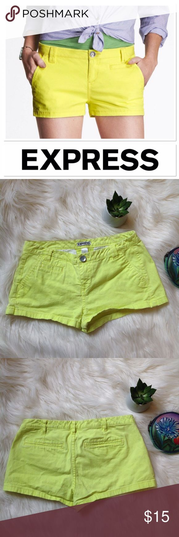 Express Neon Yellow shorts size 4 Express neon yellow shorts size 4. Perfect for hot summer days. Wear them at the beach with flip flops or dress them up with a nice top and heels. Very good condition! Express Shorts