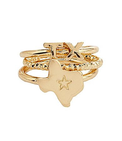 Bourbon and Boots Texas State Stacked Ring Set #Dillards