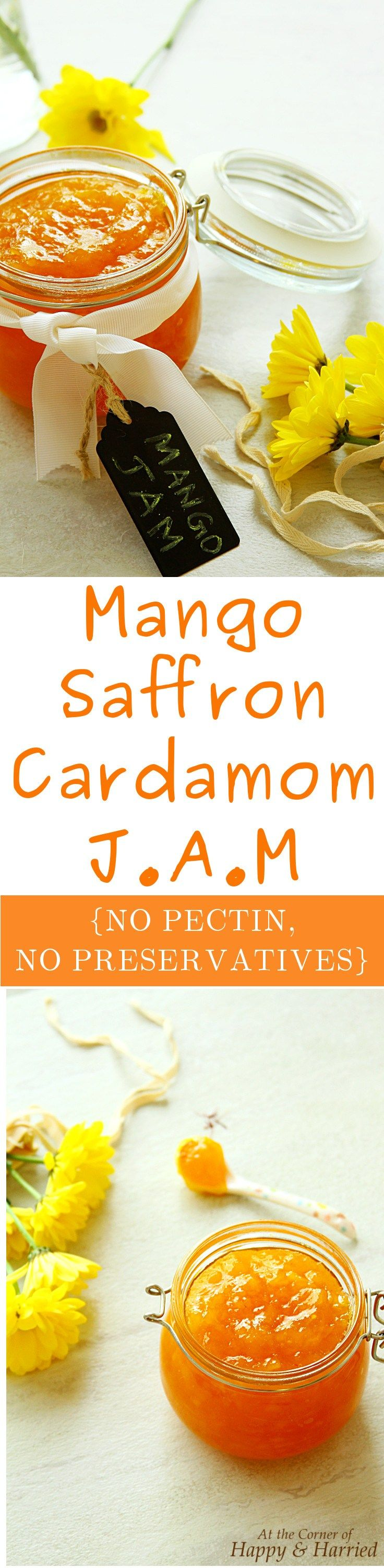 MANGO SAFFRON CARDAMOM JAM. A delicious homemade mango jam delicately flavored with saffron and cardamom. Make a batch using juicy, ripe golden mangoes and savor them till the season is long past. Make this no pectin, no preservative, refrigerator jam rec