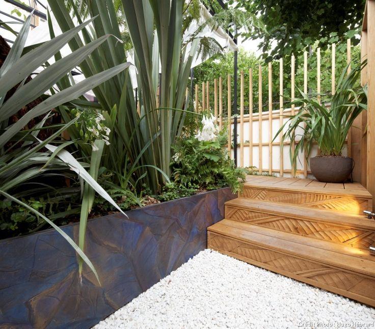 Un jardin exotique au c ur de la ville all e en gravier for Amenagement terrasse gravier