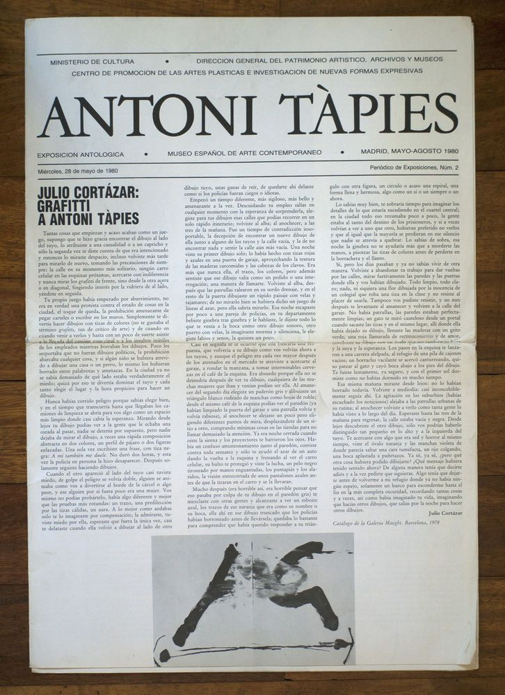 Antoni Tapies Exposicion Antologica 1980 Periodico Museo Arte Contemporaneo