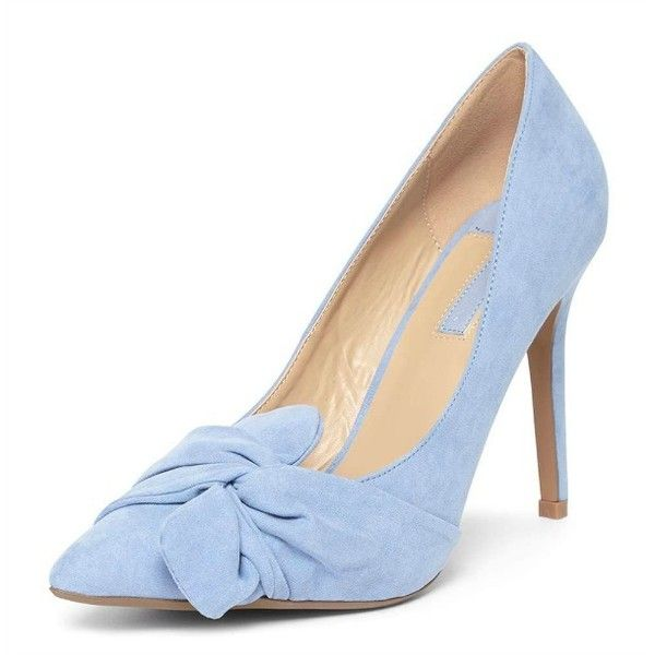 Dorothy Perkins 'Gotcha' twisted bow court shoes ❤ liked on Polyvore featuring shoes, pumps, twisted shoes, dorothy perkins, dorothy perkins shoes, bow pumps and pale blue shoes