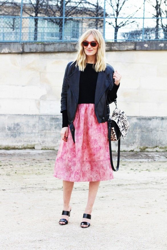 Marie Hindkaer Wolthers of Blame It On Fashion .  On Wolthers: Acne jacket; Whistles Vienna Flamingo Feather Full Skirt ($465); Elena Ghisellini bag; Alexander Wang Masha Double Strap Mules ($525).