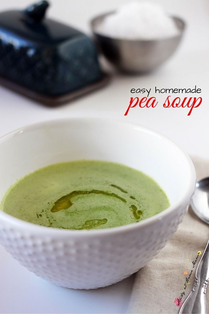 Easy Healthy Recipe for Pea Soup, a homemade pea soup recipe that the whole family will love! Swirled with a bit of butter and sprinkled with good quality sea salt, this pea soup is out of this world.