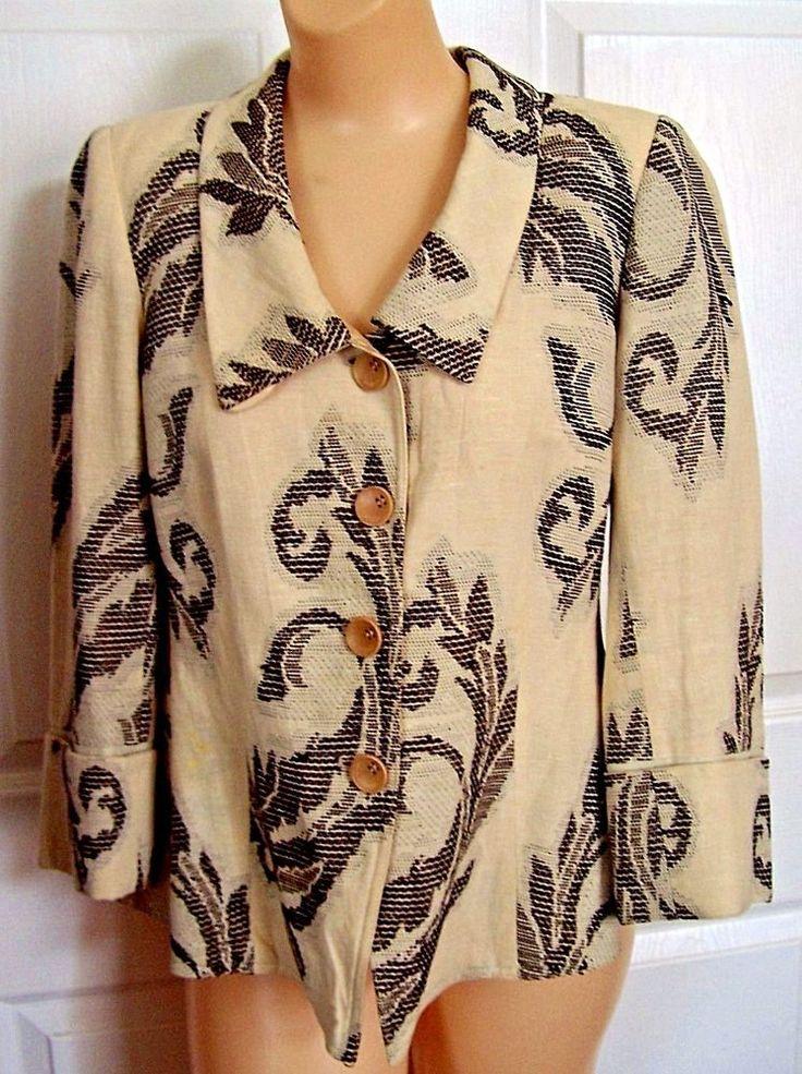Armani Collezioni Italian beige and chocolate convertible collar jacket size 6  #ArmaniCollezioni #softjacket