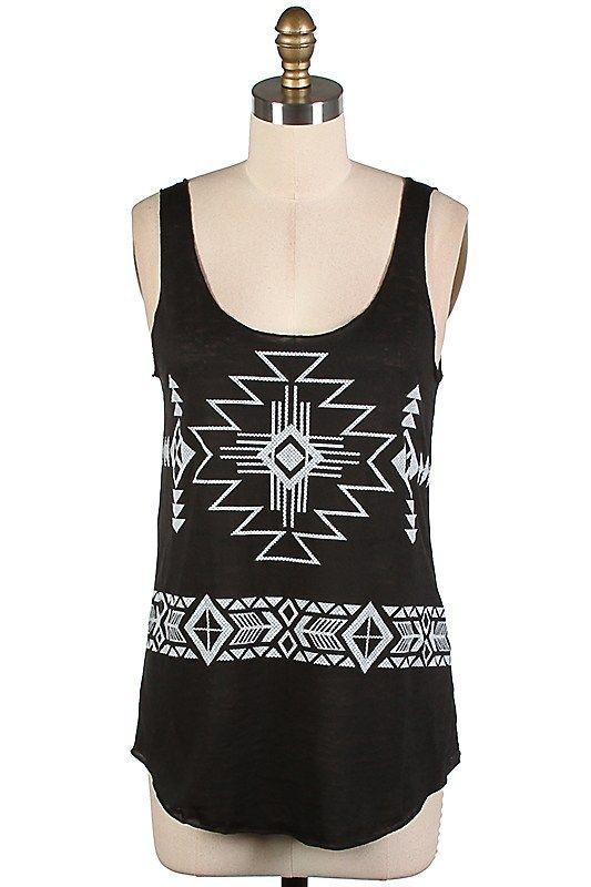 The Texas Cowgirl | Black Burnout Aztec Tribal Tank Top