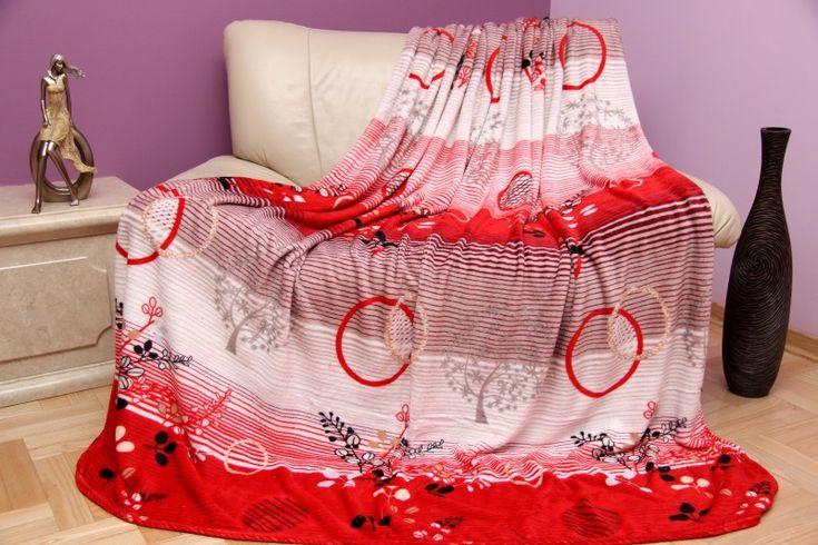 Červeno biela deka s kruhmi