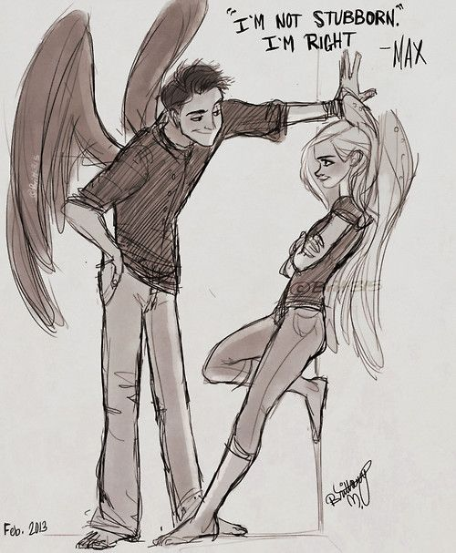 Fang and Max, from the Maximum Ride book series. I read those