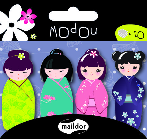 Maildor Modou ayraç Kokeshi ( 20 ayraç x 4 desen ) - 560644