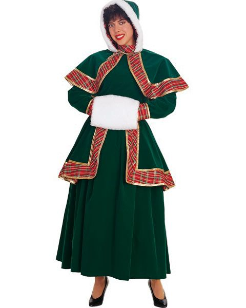 Women/'s Victorian Christmas Caroler Dickens Dress Xmas Costume Muff Plaid Skirt