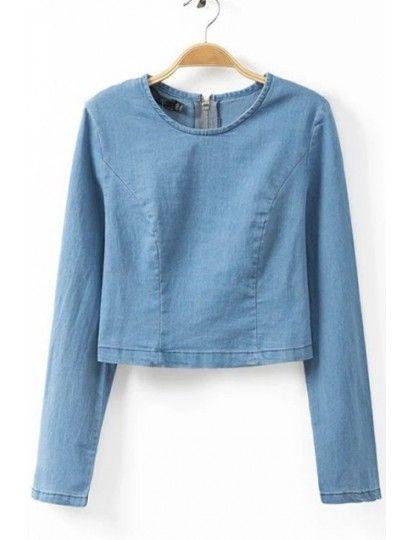 Fantastic Personality Zipper Women's Long Sleeve Blouse jeans http://www.breakicetrends.com/