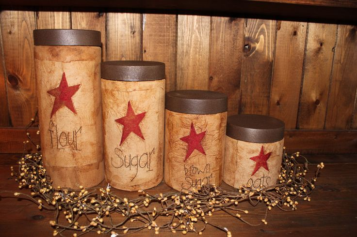 Primitive Star Grubby Jar Canister 4 piece Set-Flour, Sugar, Tea-primitive labels in your choice of wording and color. Primitive Jar.. $45.00, via Etsy.