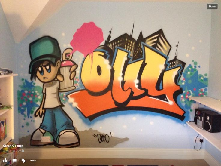 Ollys fab bedroom graffiti mural. Designed & Created by our decorator,  covering and working