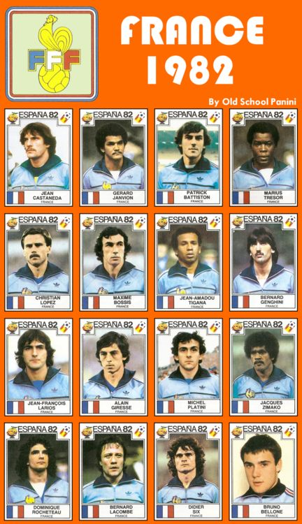FFF- Spain 1982 inc Michel Platini before being tainted with corruption and chubbiness