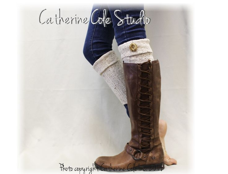 ASPEN  boot cuffs - natural flecks - Boot cuff socks - leg warmers  - cuffs for boots - knitted - crochet - handmade by Catherine Cole Studio LOVE IT <3 PIN IT LATER!