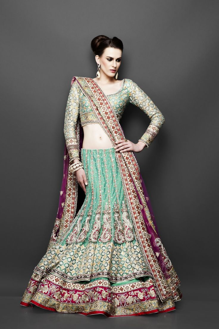 Double Layer Pista Green Lehenga