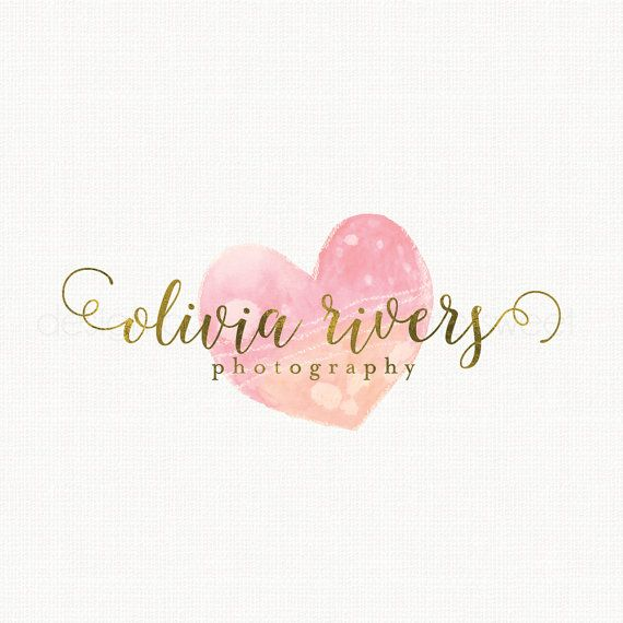photography logo watercolor heart logo by stylemesweetdesign