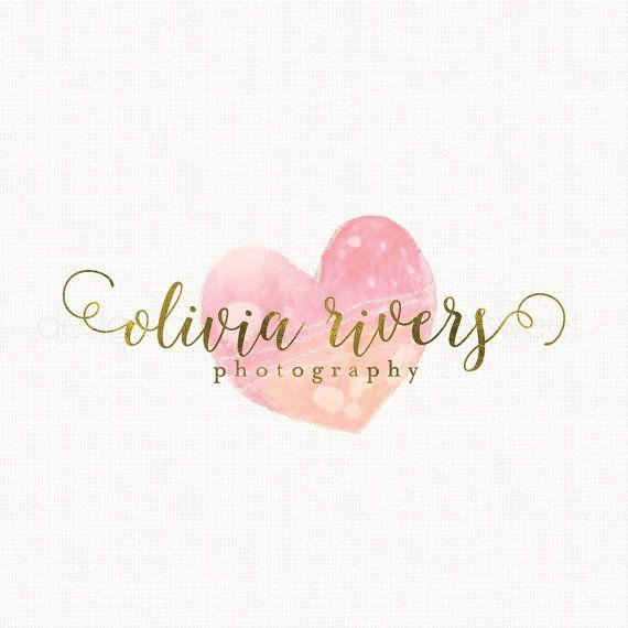 photography logo watercolor heart logo by stylemesweetdesign