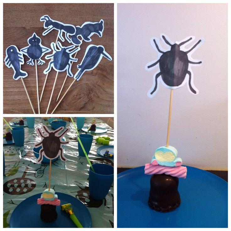 DIY natuur prikkers voor kinderfeestje met thema natuur.