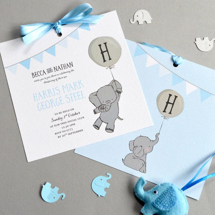 free online christening invitation making%0A Elephant Christening Invitation