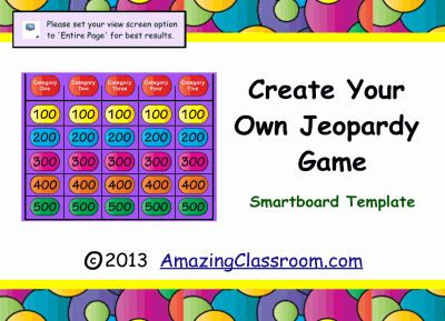 jeopardy game template smart board education pinterest. Black Bedroom Furniture Sets. Home Design Ideas