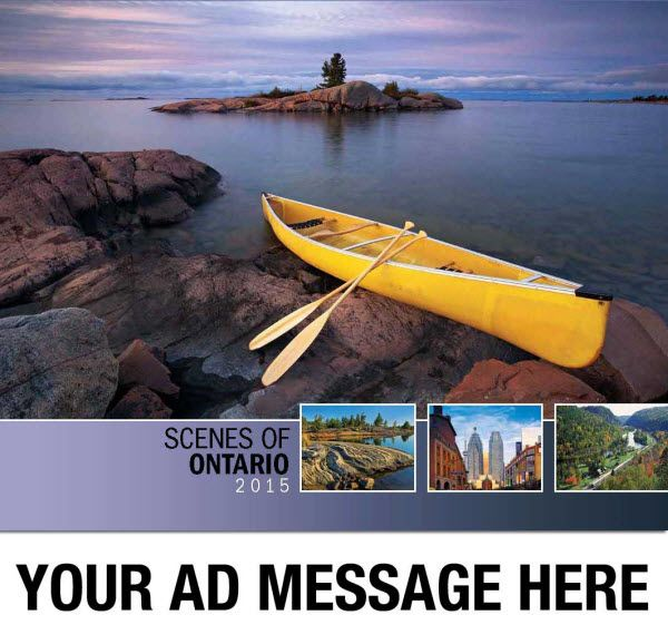 2015 Promotional Wall Calendars - Scenes of Ontario  Scenic Canada Province of Ontario Calendar  Your Scenes of Ontario Advertising Calendar features 13 spectacular images that illustrate the variety and beauty of Canada's 2nd largest Province. From the econimic and urban centres in the south to the unspoiled wilderness and pristine lakes of Northern Ontario this promotional calendar will appeal to all.  Personalize your Wholesale Scenes of Ontario Calendar as low as 65¢!