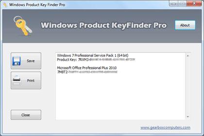 Windows Product Key Finder - Screenshot
