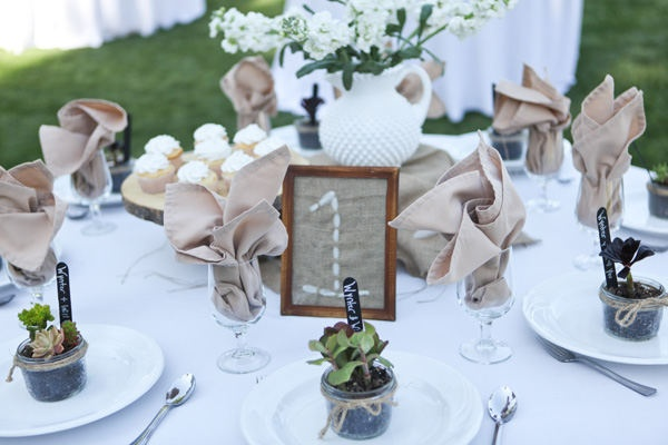 rustic table setting with succulent favours