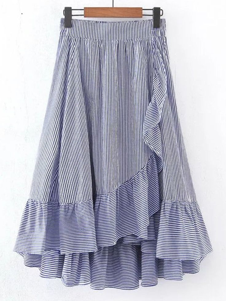 Vertical Striped Elastic Waist Frill Hem Skirt