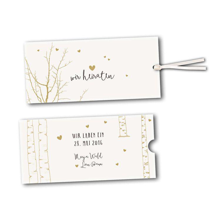 Hochzeitskarte mit kleinen Herzen. Heiraten im Birkenwald. #Hochzeitskarte #Hochzeit #Bohohochzeit #Waldhochzeit #verliebt #Schuber #Einsteckkarte #Ausziehkarte